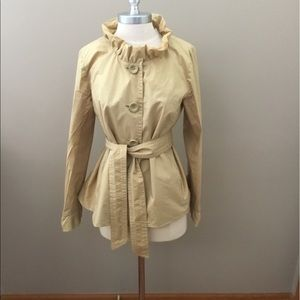 J. Crew Tan Lightweight Jacket With Ruffle Collar